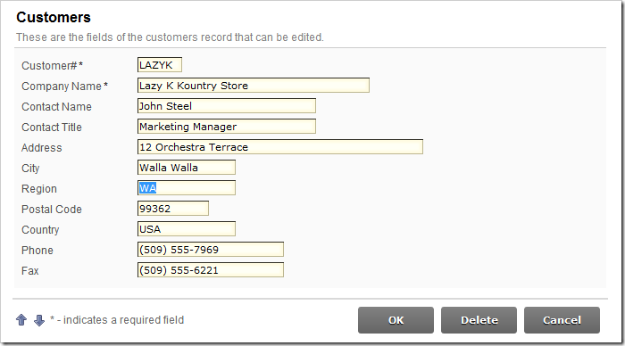 Region data field is editable by default in the Customers edit form.