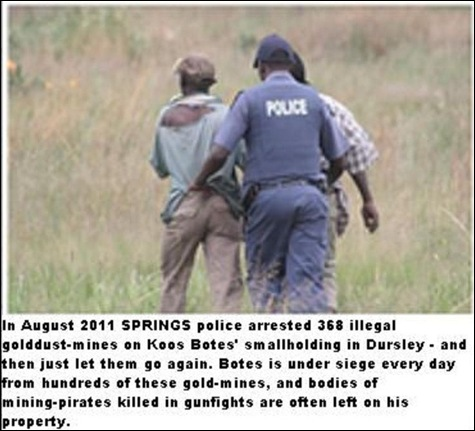 BOTES KOOS 100s of illegal panners arrested let go again destroy his property Dersley SpringsAug262011