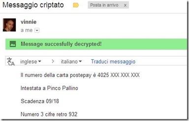 Secure Gmail email decriptata