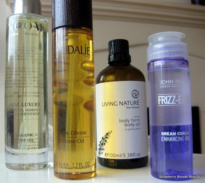 Neom-Real-Luxury-Body-Oil, Caudalie-Divine-Oil, Living-Nature-Body-Oil, John-Frieda-Frizz-Ease-Dream-Curls-Hair-Oil