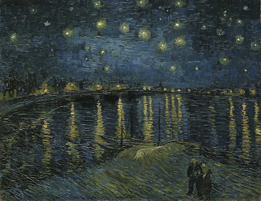 Starry Night, made by a Dutch painter in the late 1880's, is  a beautiful display of texture and colour. Even the water is shimmering with the dark night and its bright stars.