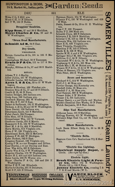 1887 Indianapolis City Directory businesses, Dry Goods
