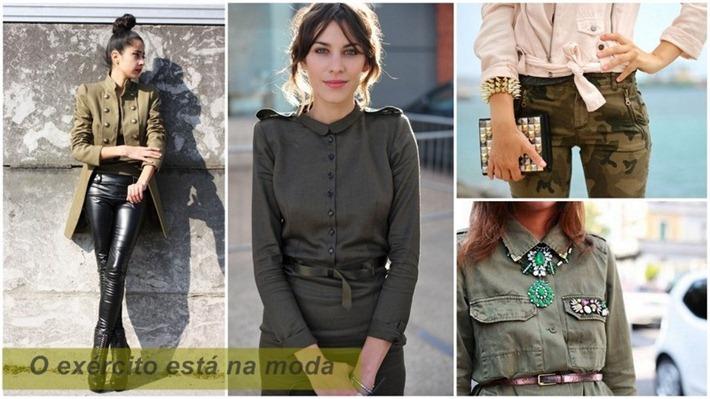 tendência militar moda feminina roupas