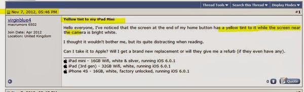 少數人看到 iPad mini 有黃斑