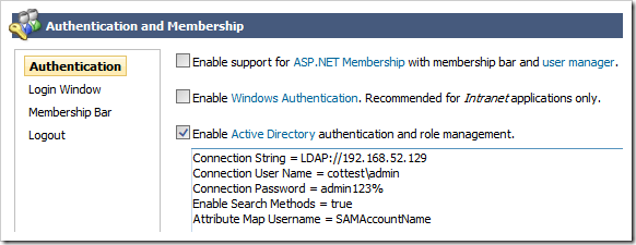 An example of an actual Active Directory configuration.