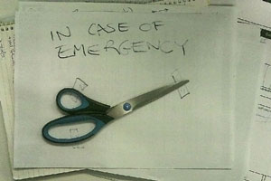 "My ""In Case of Emergency"" scissors at work"