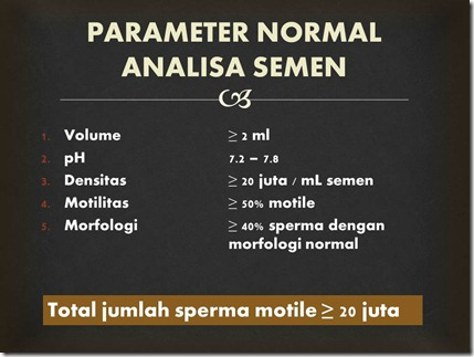 PARAMETER NORMAL ANALISA SEMEN