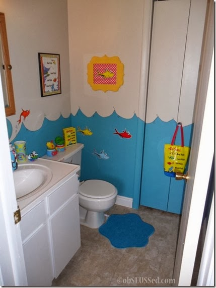 Seuss One Fish Bathroom obSEUSSed door