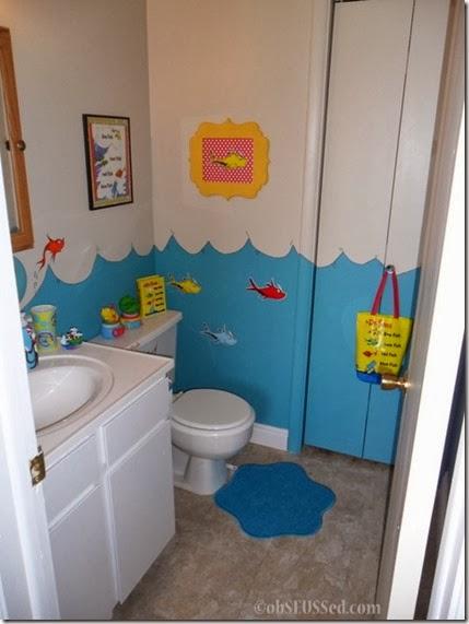Seuss One Fish Bathroom obSEUSSed door