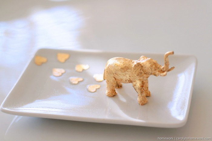 Gold Leaf Elephant Trinket Dish by homework (1)