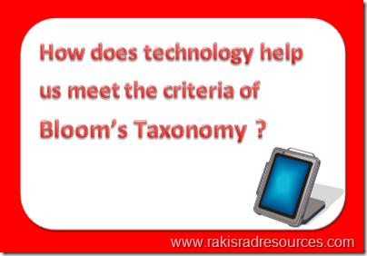 How does technology help us meet the criteria of Bloom's Taxonomy - professional development Sundays at Raki's Rad Resources