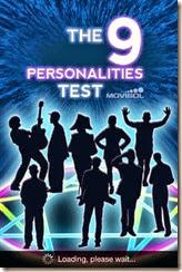 الواجهة الرئيسية لتطبيق إختبار تحليل الشخصية للأيفون والأيباد والأيبود تاتش The 9 personalities test