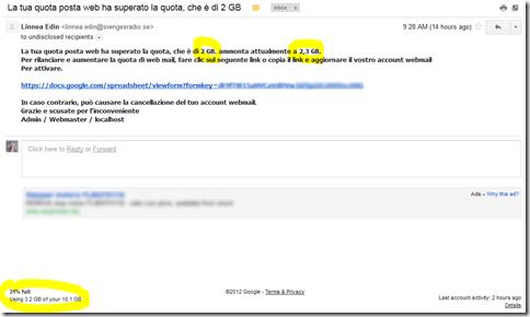 La tua quota posta web ha superato la quota (sic!)