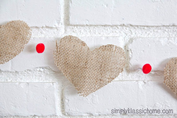 Burlap heart garland close up