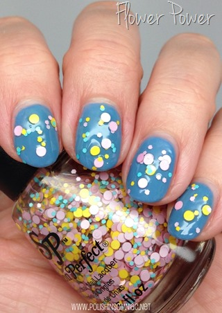 Salon Perfect Flower Power over Gelish Mini Up in the Blue