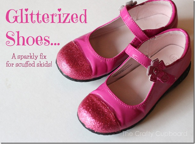 Glitterized shoes by the Crafty Cupboard