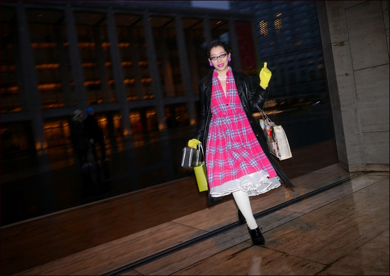 fw 2-2013 slippery when wet 3 bright pink plaid dress white petty coats black leather long coat yellow gloves ol