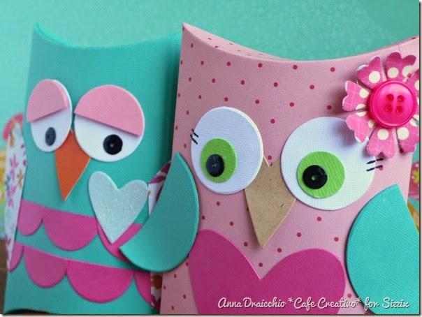 cafe creativo - big shot sizzix - owl pillow box - gufi scatolina (4)