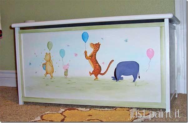 Pooh painted on toybox