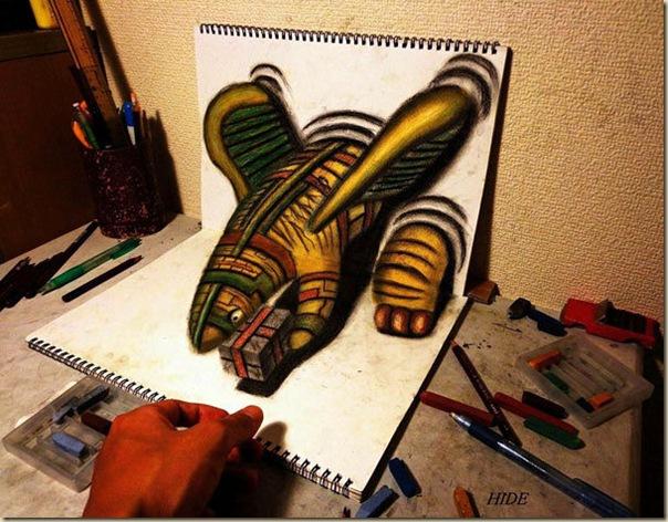 Incroyables dessins au crayon en 3D par Nagai Hideyuki-007
