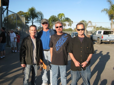 Brad, Brian & Bruce with Stuart Glasscock 2nd from right at Clairemont Skate Park in 2010. Stuart came to San Diego just to give Brad a model of his board he wanted him to have because he did not have one. Stuart paid for his family to come here just to give Brad that board and then made a vacation out of his visit to San Diego. It was quite a great gesture by Stuart.