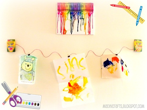 melted crayon artwork display