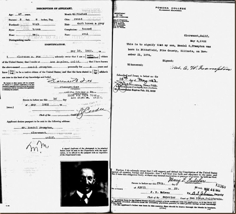 FRAMPTON_Mendall_Passport application_27 May 1922_page 2