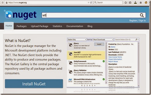 Search for a package at nuget.org