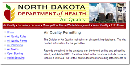 North Dakota Department of Health Air Quality