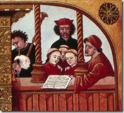 Petits chanteurs, chantre et sous-chantre. XVe s. Paris, BnF, ms Français 143 f ° 65 v°