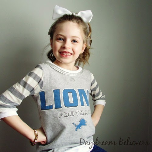 Daydream Believers Handcrafted Clothing for Girls. Stylish Upcycled Detroit Lions Tee. One of a Kind. Team Spirit Wear for Stylish Girls.