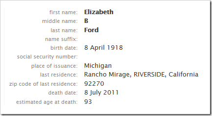 SSDI entry on FamilySearch.org for Betty Ford, wife of the former president