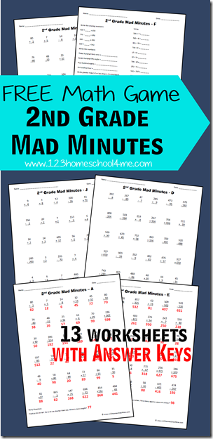 Worksheets Mad Math Worksheets 2nd grade math worksheets