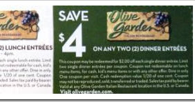Olive Garden Smart Source Coupons Think 39 N Save