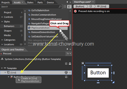 9. Drag Behavior to the Button Template