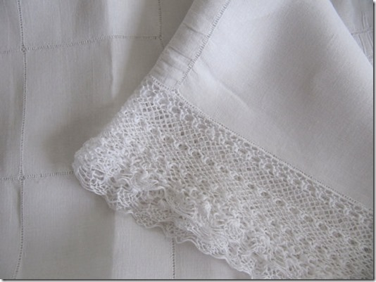 Antique Linen Coverlet or Tablecloth with Cotton Crochet Lace Border available at billy's bungalow!