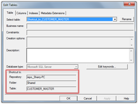 Informatica PowerCenter Object Shortcut