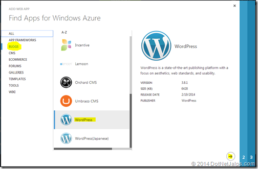 Word press blog created from windows microsoft azure