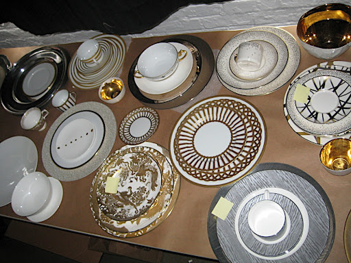 Here's a portion of the metallic dinnerware we had on hand.