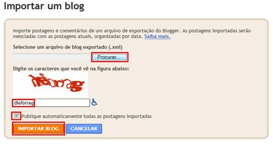 Fazer upload do blog