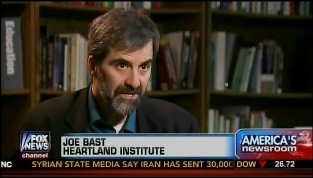 Screenshot of Heartland Institute's Joe Bast on Fox News, attacking the IPPC report on climate change. Photo: Media Matters