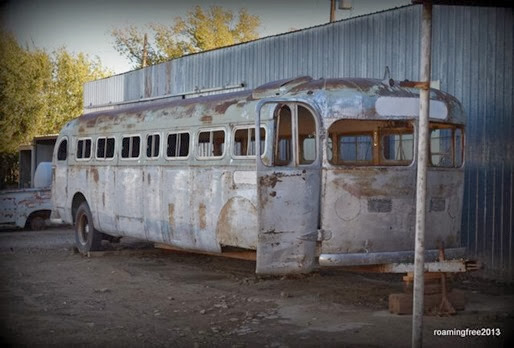 Old bus converted to a trailer