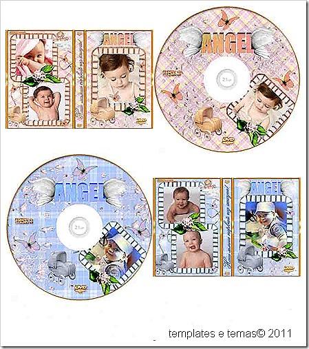 Capa de CD e DVD com espaço para fotos de crianças.(PSD