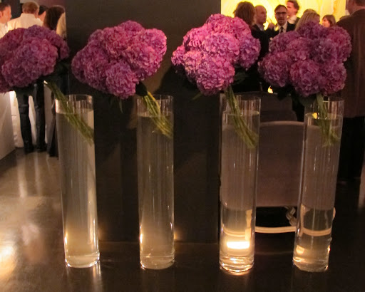 Gorgeous fuchsia hydrangeas were displayed throughout the showroom.