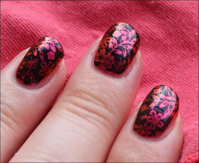 Nail Art Nageldesign Inverse Flower Pink Spice 3