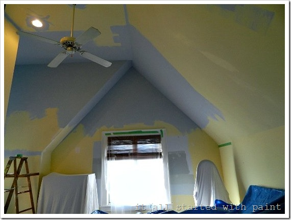 How To Paint A Vaulted Ceiling Without Scaffolding - Painting ideas for bedrooms with slanted ceilings