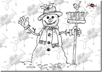 Snowman_and_robin_water