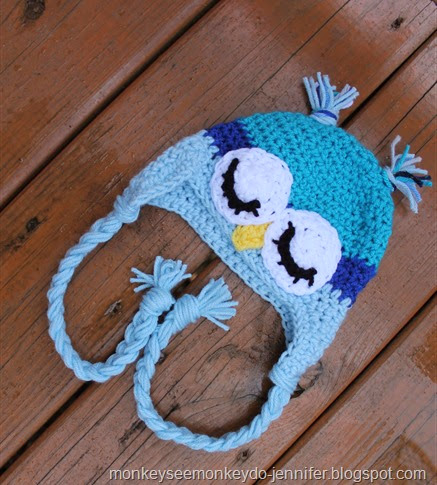 blue baby boy owl hat
