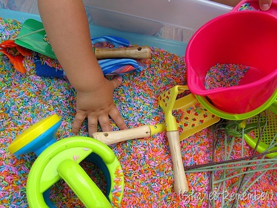 Rainbow Rice & Garden Sensory Play with gardening tools, silk flowers and buckets