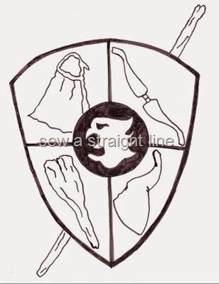 D&D cartoon crest sew a straight line